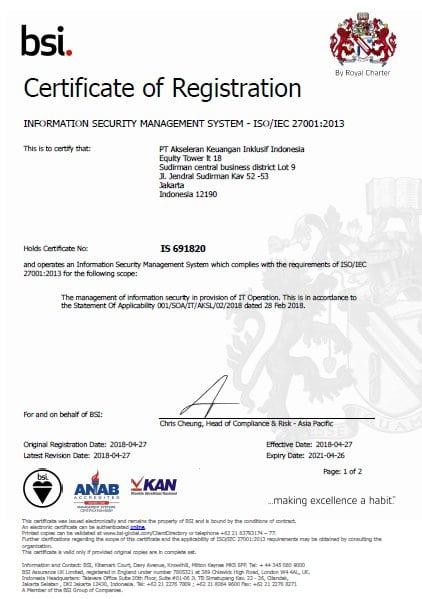 Sertifikat ISO 27001 Akseleran
