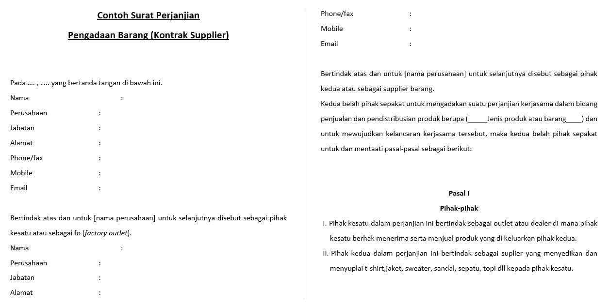 Surat Perjanjian Pengadaan Barang (Kontrak Supplier)
