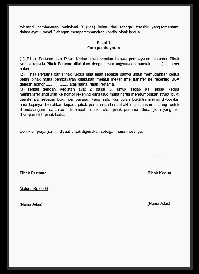 Surat Perjanjian Hutang Piutang Preview 1